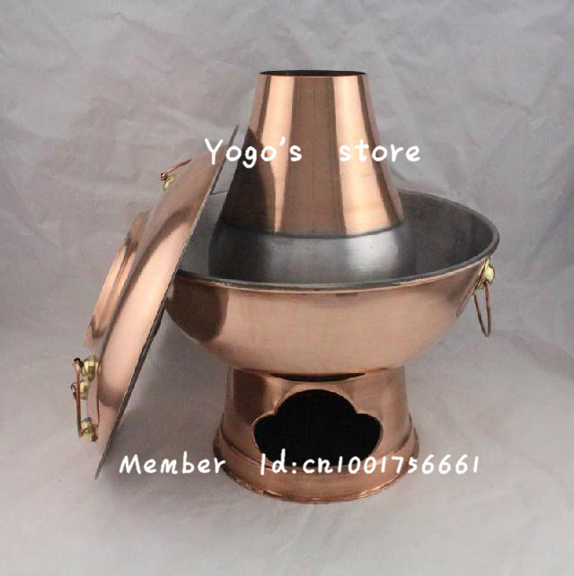 FREE SHIPPING 34cm China copper hot pot thickened Mongolian / Chinese dragon charcoal copper fondue pot copper handmade fire pot