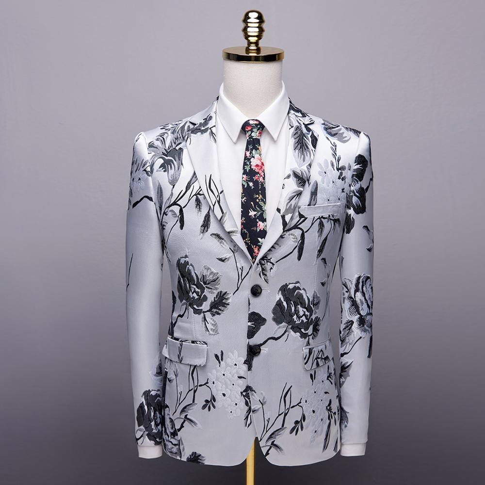 Blazer Masculino moda 2019 jesień mężczyźni Blazer wysokiej jakości szczupły mężczyzna żakiet z dzianiny dresowej z długim rękawem na co dzień kwiatowy mężczyźni garnitur kurtka w Marynarki od Odzież męska na  Grupa 1