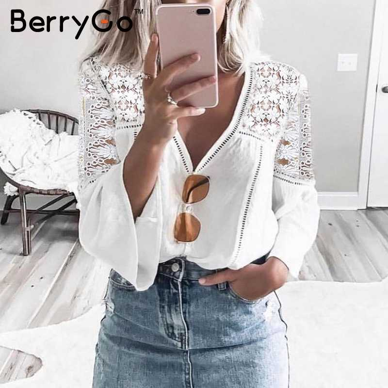 BerryGo V neck hollow out lace blouse shirt Women elegant flare sleeve chiffon shirt top Summer white tops tees blusas 2018 new