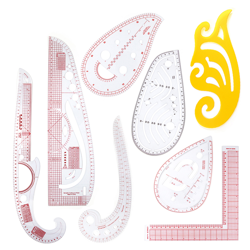 8pcs Transparent Curved Template Rulers Sewing Patchwork Ruler Set Tailor Dressmaker Drawing DIY Craft Tool Sewing Accessories
