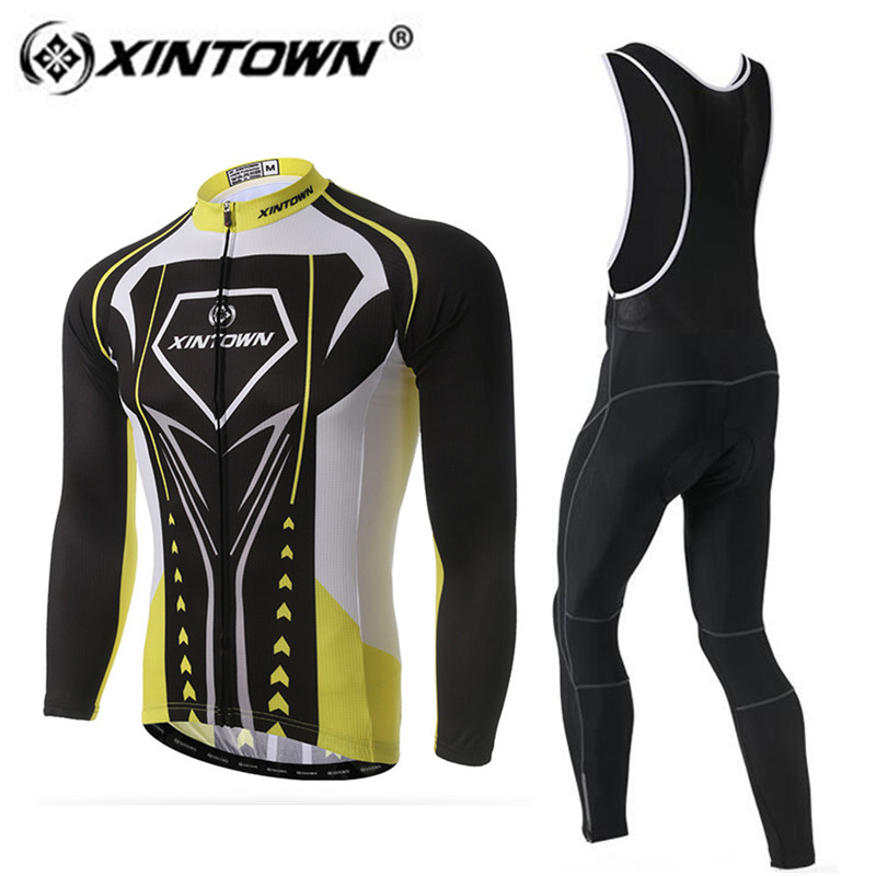 XINTOWN Men Cycling Jersey Set 2018 Winter Thermal Fleece Mountain Bike Uniform Long Sleeve Cycling Clothing MTB Bicycle Jersey otwzls cycling jersey 2018 set mountain bike clothing quick dry racing mtb bicycle clothes uniform cycling clothing bike kit