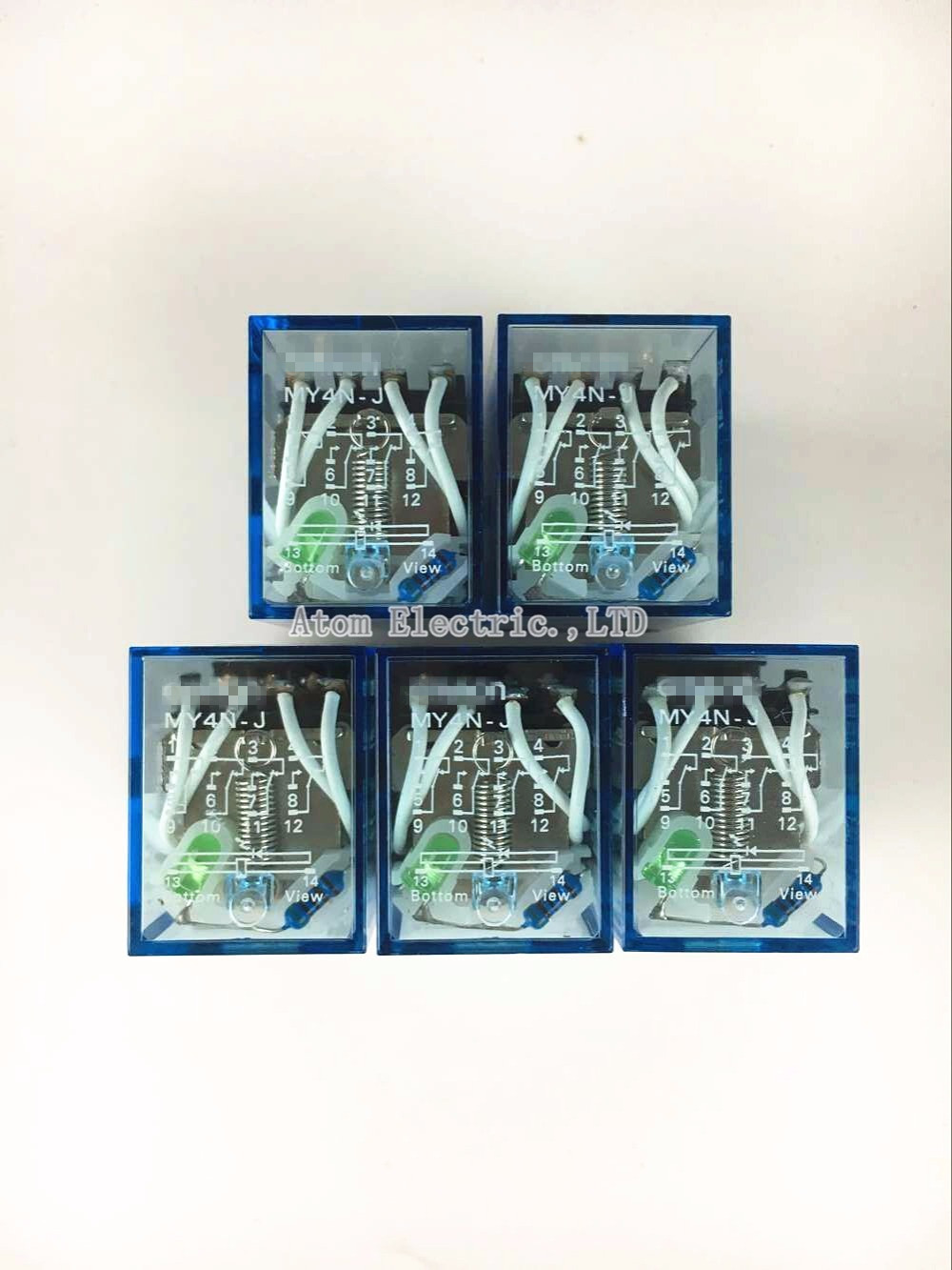 5PCS MY4NJ AC DC 110V Coil 5A 4NO 4NC Green LED Indicator Power Relay DIN Rail 14 Pin time relay ac dc no bull