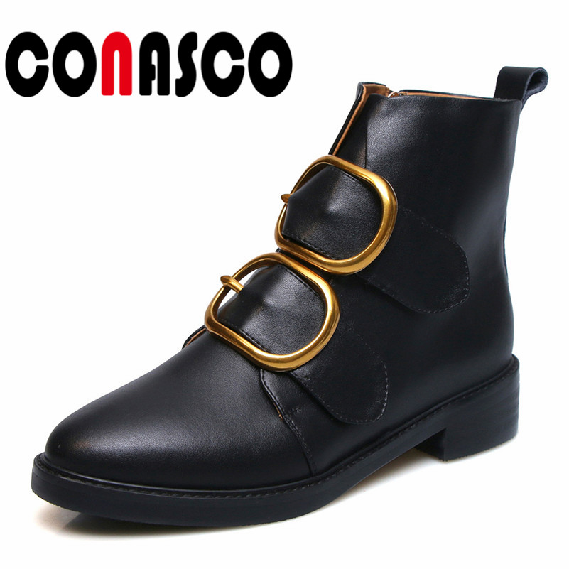 CONASCO Fashion Women Ankle Boots Buckles Med Heels Autumn Winter Martin Shoes Woman Short Motorcycle Boots Ladies New Shoes CONASCO Fashion Women Ankle Boots Buckles Med Heels Autumn Winter Martin Shoes Woman Short Motorcycle Boots Ladies New Shoes