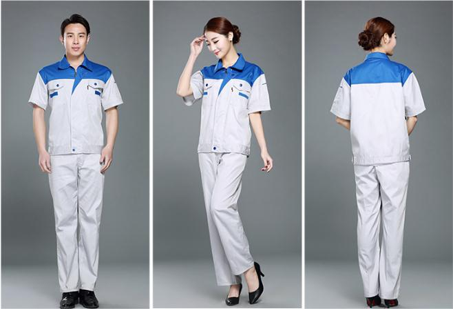 Summer short sleeve factory labor work clothing, jacket and pants suit, house work apparel.