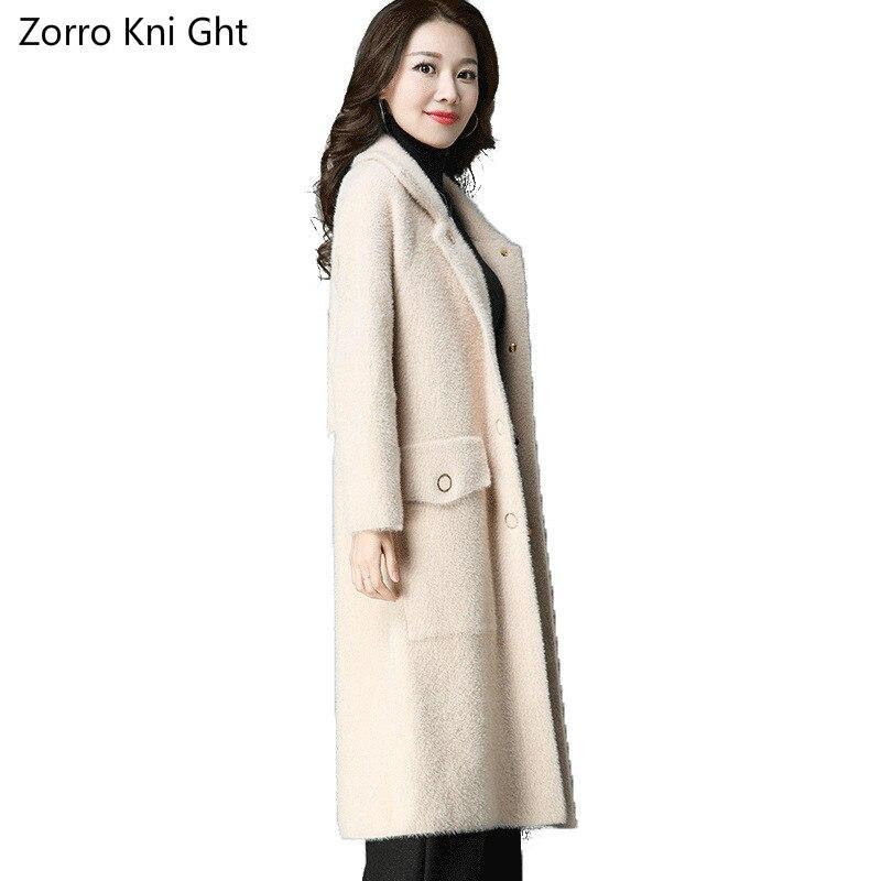 Zorro De 2018 Section Longue Coréenne photo Velours Tricot Femmes Photo Cardigan La Manteau Automne D'eau Color Femelle Veste Kni Revers Color Ght Nouvelle Version PqwPr