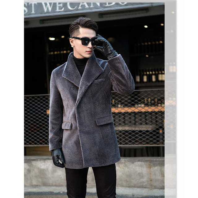 Natural wool coats outerwear men turn down collar single breasted warm winter real wool jackets man fashion trench coats