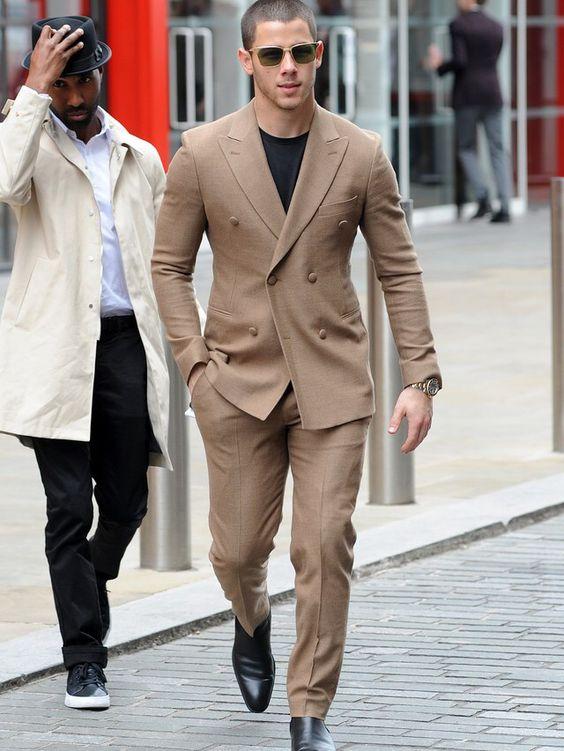 2017 Latest Coat Pant Design Brown Khaki Double Breasted Men Suit Groom Suits Tuxedo Slim Fit Custom 2 Piece Prom Blazer Ternos