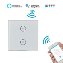 ЕС умный настенный сенсорный выключатель, 2 банды 1 способ Wifi 2,4G пульт дистанционного управления Сенсорный выключатель, закаленное стекло сенсорный экран, AC 100-240 В