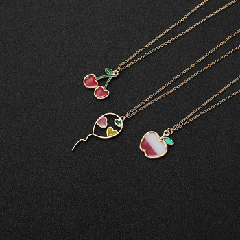 Lucky Cartoon Enamel Colorful Fruit Apple Necklace Flying Balloon With Hearts Necklace Red Color Cherry Chain Necklaces Women