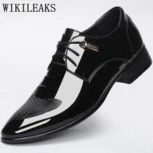 Designer marque de luxe de mariage chaussures homme En Cuir Verni noir oxford chaussures pour hommes formelle mariage mens bout pointu robe chaussures