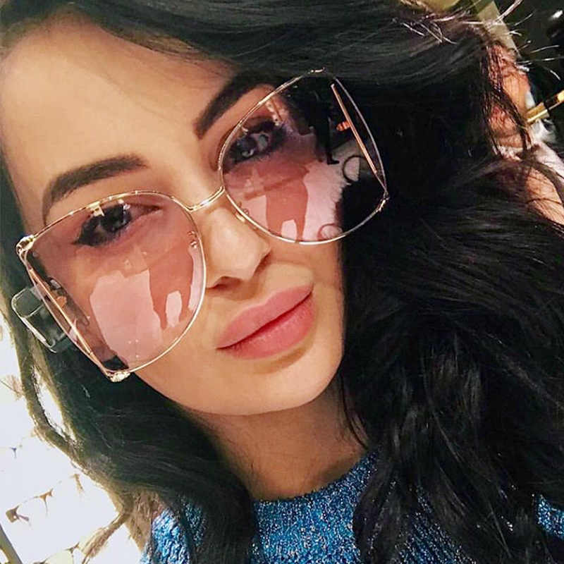 FU E Brand Designer Pearl Decoration Half Frame Women Cat Eye Sunglasses Fashion Oversized Sun Glasses Ladies Clear Pink Shades