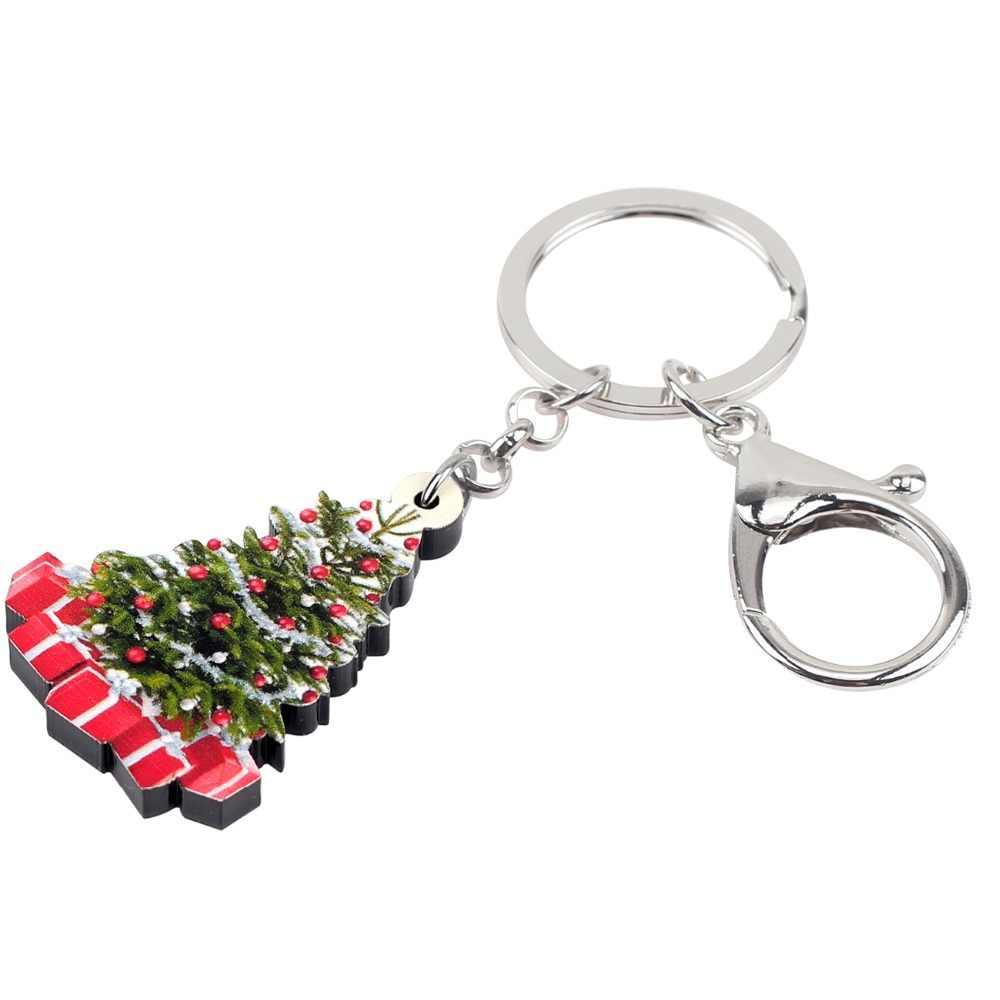 Bonsny акриловая елка подарочные брелки держатель брелка для ключей декорация Рождество для женщин девочек подростков Ювелирная сумка кошелек подвески