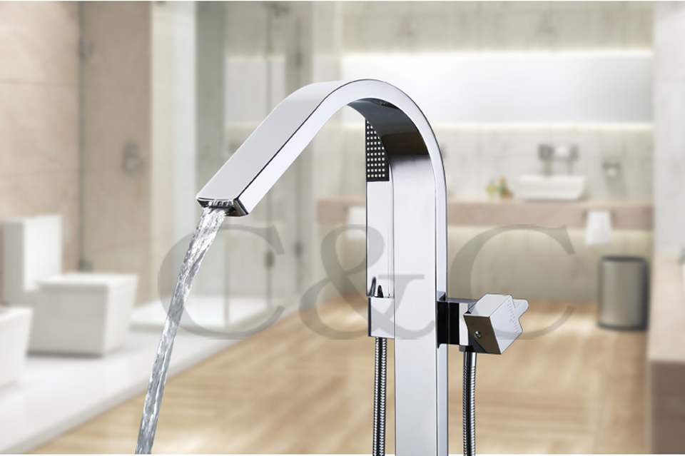 buy large water flow easy with embedded box bath waterfall floor standing bathtub faucet mixer set from reliable standing