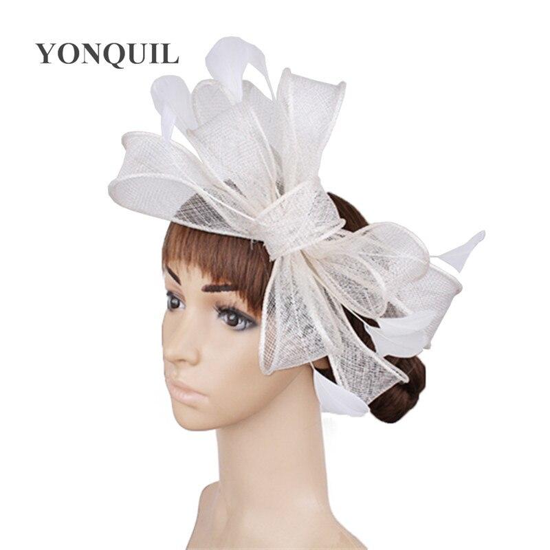 Винтажный белый головной убор Sinamay шляпа с причудливыми перьями Свадебные шапки Клубная кепка очень красивая 21 цвет можно выбрать SYF280 - Цвет: Белый