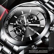 Мужские черные часы, роскошные полностью стальные часы, мужские часы, мужские спортивные бизнес часы Erkek Kol Saati, наручные часы с хронографом