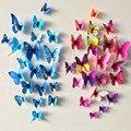 12 Шт./лот ПВХ 3D DIY Бабочка Стены Стикеры Home Decor Плакат для Кухни Ванной Холодильник Клей Наклейки На Стены Украшения