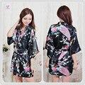 Sexy Kimono White Bride Robe Floral Satin Sleepwear Kimono White Shipping Robe Silk Free Womens