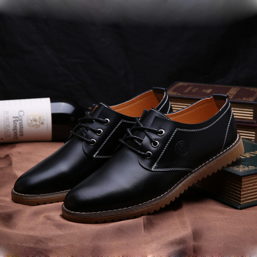 Larg Size 38-46 Mens Genuine Leather Shoes 2017 Fashion Lace Up Casual Men Flats Oxfords Wear Rubber Dress Shoes Breathable Shoe free shipping small size 38 39 44 men spring autumn flats boy genuine leather shoe students fashion trend lace up shoes non slip