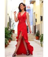 Simple Cheap Red Lace High Low V Neck Sleeveless Applique Prom Dresses 2017 Customized Made Plus