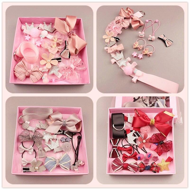 1Set=17pcs Multi-style Ribbon Bow Flower Hairpins Hair Barrettes Children Accessories Cute Baby Girls Headwear Hair Clip  LL-209
