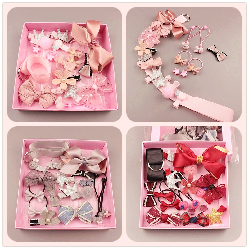 1Set=17pcs Multi-style Ribbon Bow Flower Hairpins Hair Barrettes Children Accessories Cute Baby Girls   Headwear   Hair Clip LL-209