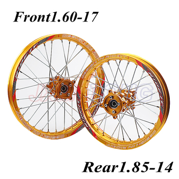 Gold 15mm Front 1.60-17 Rear 1.85-14 inch Alloy Wheel Rim with CNC Hub For KAYO HR-160cc TY150CC Dirt Pit bike 14/17 inch wheel