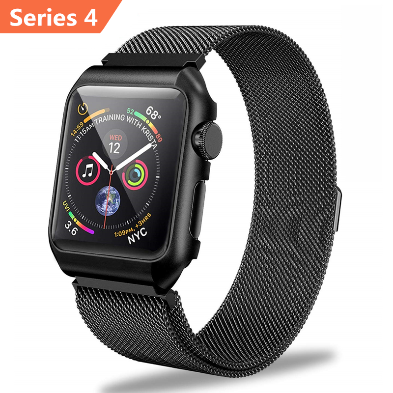 ASHEI for Apple Watch Series 4 Milanese Loop Band with Metal Protective Case Wrist Bracelet for iWatch 40mm 44mm 38mm 42mm StrapASHEI for Apple Watch Series 4 Milanese Loop Band with Metal Protective Case Wrist Bracelet for iWatch 40mm 44mm 38mm 42mm Strap