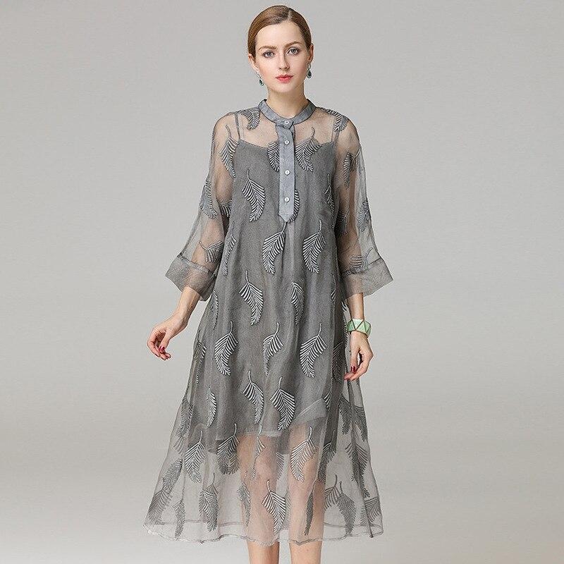 Шелковые цветочные Плюс Размер летнее платье женские s сексуальные Клубные Ретро пляжные богемные платья Длинные 2019 серые листья дерева вы