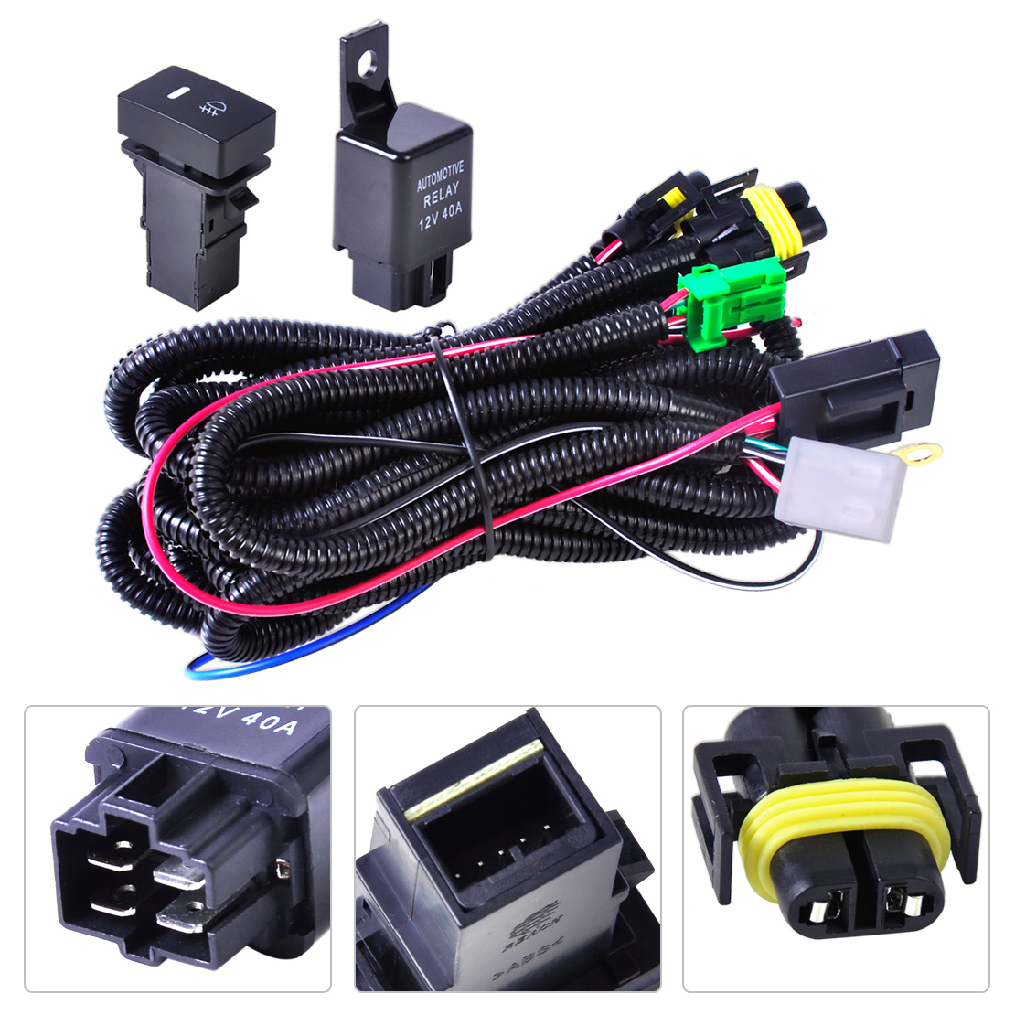 Beler H11 Fog Light Lamp Wiring Harness Sockets Wire   Switch With Led Indicators At Relay For