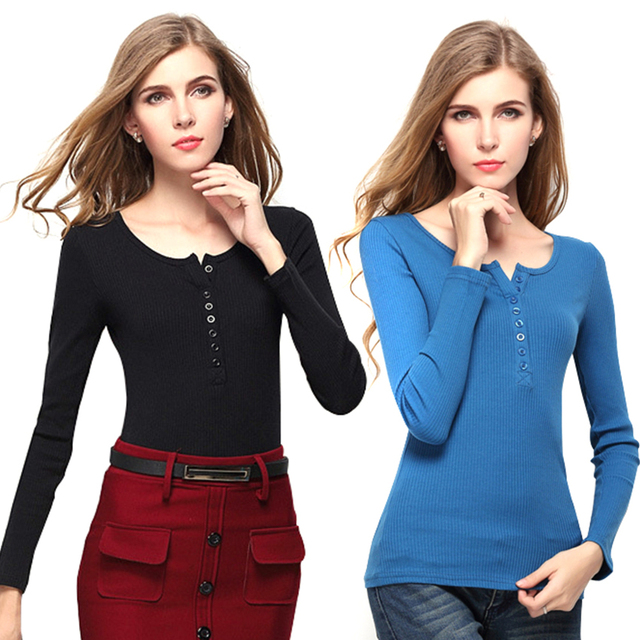 New Brand Fashion Casual T-shirt for Pregnant Women Solid Black/ Blue Available Simple Button Design Long Sleeve Tops