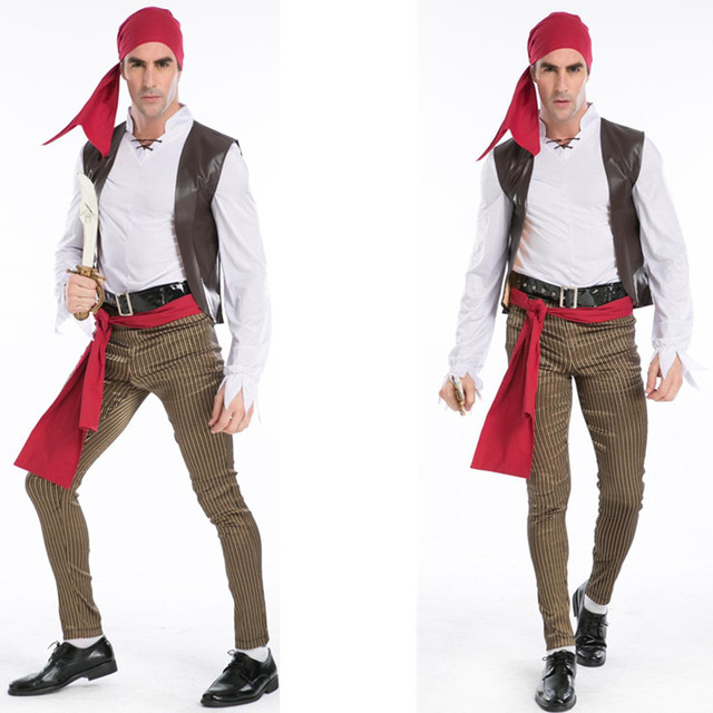 high quality mens halloween costume somali pirates costume adult halloween cosplay caribbean pirates costume