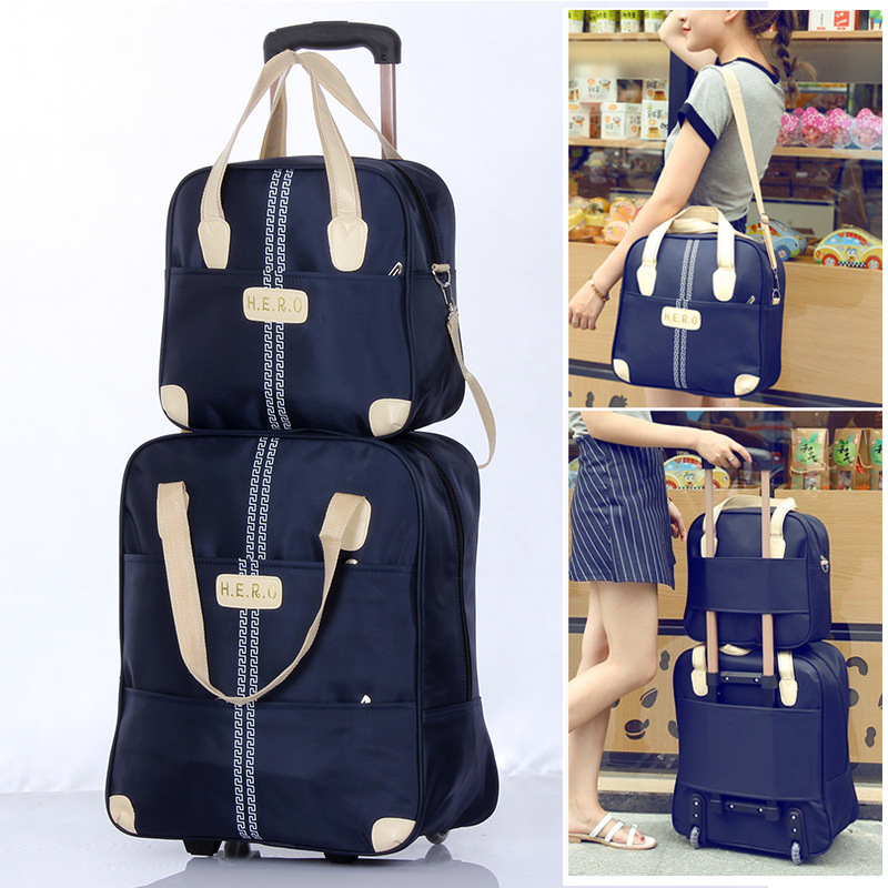 2019 New Waterproof Oxford Cloth Set Of 2 Sets Overnight Bag Travel Bag Luggage Organizer Rolling Backpack Roller Trolley Case