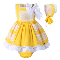 Pettigirl 2019 Easter Baby Girls Dress Cotton Children Yellow Toddler Girl Clothing Sets With Bonnie+PPpants G DMCS101 B174