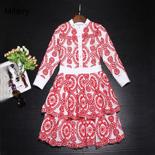 Runway Dress 2017 Red Embroidery Cascading Ruffles Mini Celebrity Style Dress Fashion Long Sleeves Beads Kate Style Dress