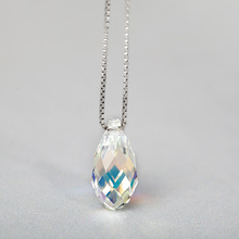 Funmor Faceted Crystal Pendant 925 Sterling Silver Necklace Girls Women Daily Banquet Engagement Decoration Accessories Bijoux