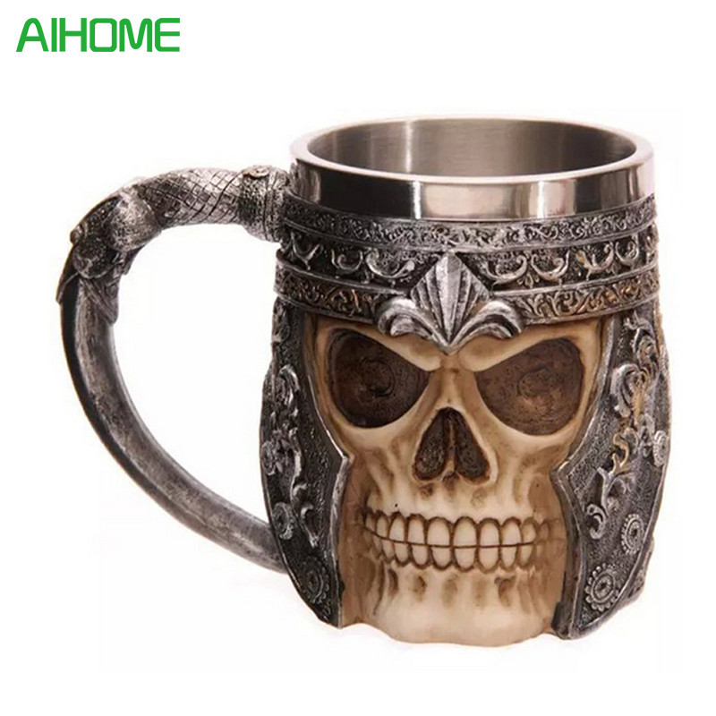 1Piece Striking Skull Warrior Tankard Viking Skull Beer Mug Gothic Helmet Drinkware Vessel