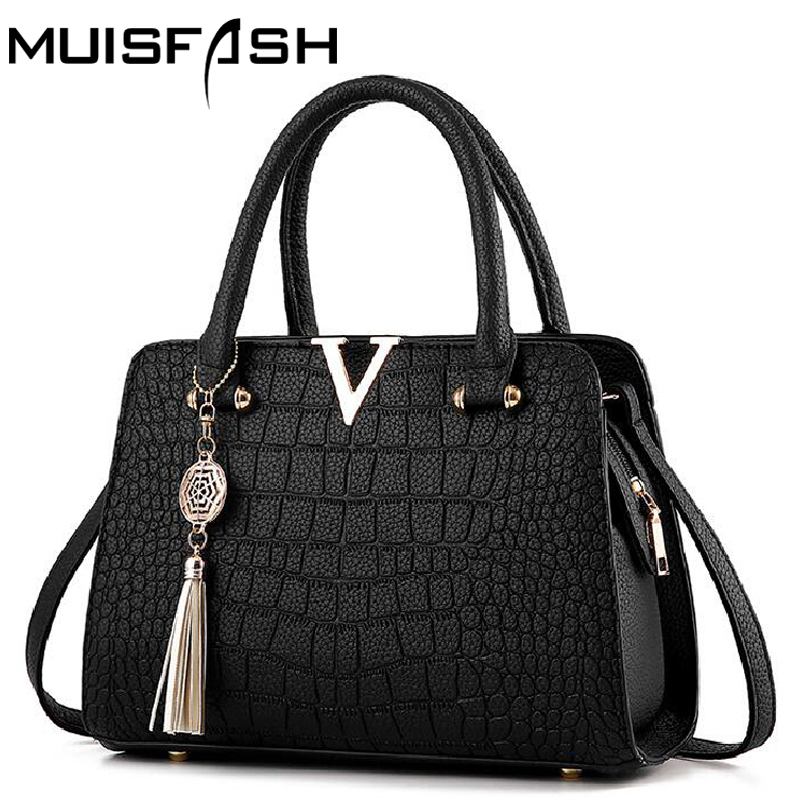 hot crocodile leather women handbags famous brands designer women messenger bags female fringed shoulder bag women