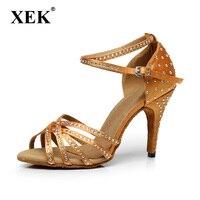 XEK Satin Latin dancing shoes Women's Rhinestone companionship shoes Salsa Party Ballroom dancing shoes heel 10 cm GSS66