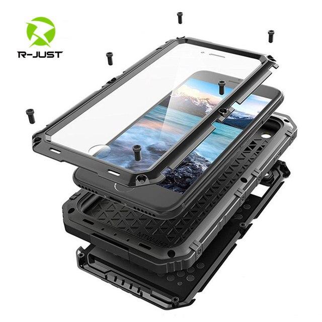Sang trọng giáp Kim Loại Nhôm Đựng điện thoại Chống Nước cho iPhone XR X 6 6S 7 8 Plus XS Max Chống Sốc chống bụi Dày Bao