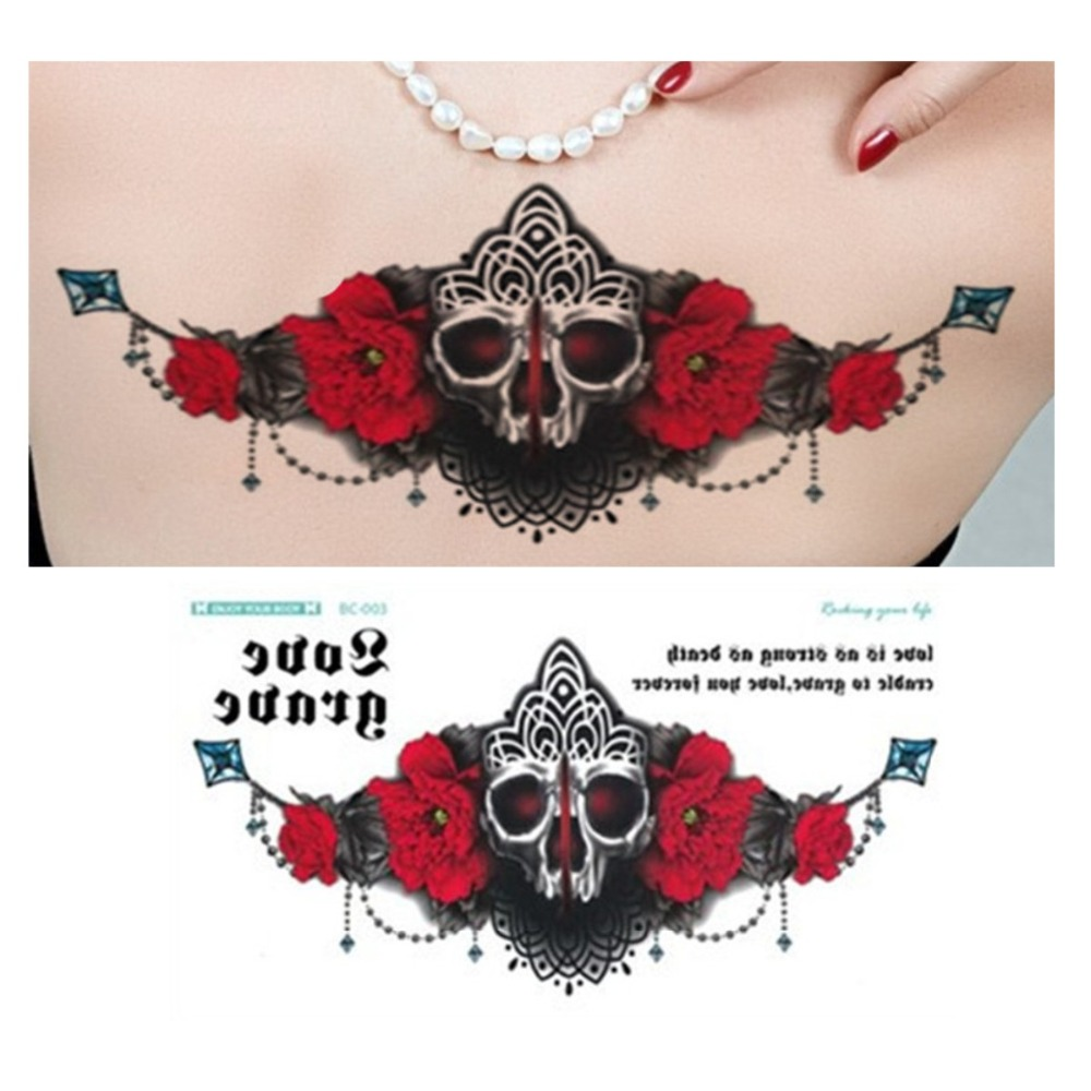 Cool Body Art Temporary Tattoos Black Red Flash Lace Skull Rose Tattoo Sticker Henna Women Jewelry Waterproof Tattoo New Arrival Головная гарнитура
