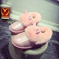 Мода 2016 Марка U Зима с Меховой Женщины Мокасины Поскользнуться на кролик Женщин Квартиры Зимние Случайные Дамы Теплые Oxfords Обувь для Женщин