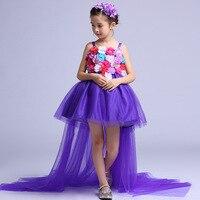 Uzun Kuyruklu Resmi Kız Elbise Düğün Uzun Geri Mor Çiçek Kız Vestido 2017 Gilrs Giyim 6 8 10 12 14 Yaşında RKF174034