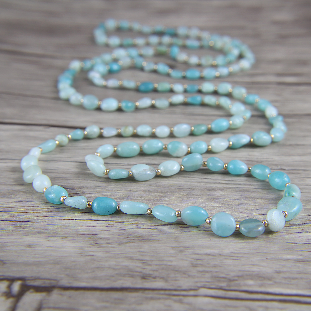 Raw Amazonite bead Necklace Blue Bead Necklace BOHO Summer Long Bead Necklace Chic beads Jewelry цена