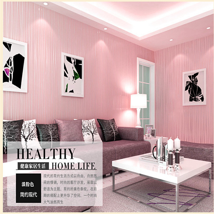 2017 new arrival pink color bedroom wallpaper plain color for Pink living room wallpaper