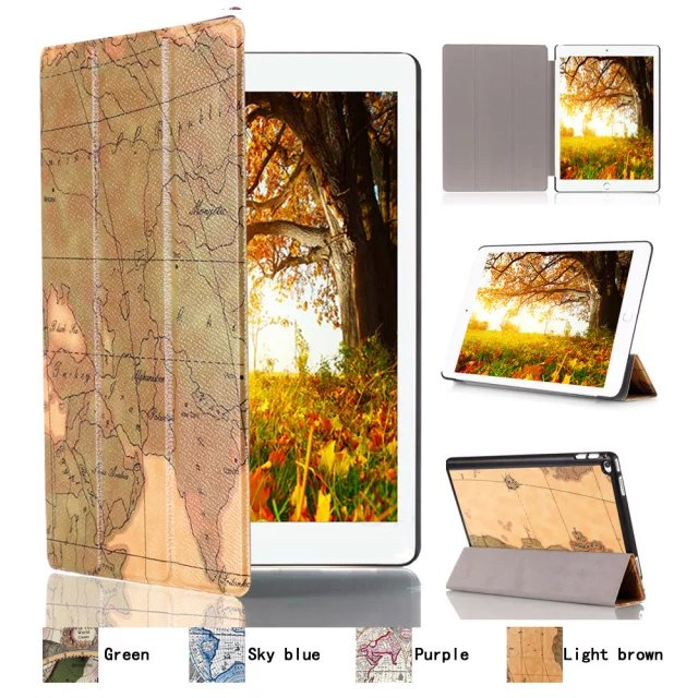 все цены на  Ultra Slim World Map 3-Folder Folio Stand PU Leather Magnetic Smart Sleep & Wake Cover Case For Apple Ipad Pro 12.9 inch Tablet  онлайн