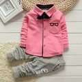 2017 New Fashion Baby Sets Kids Cute Uniform Clothes For School Birthday Long Sleeve Shirt Cotton Striped Pants