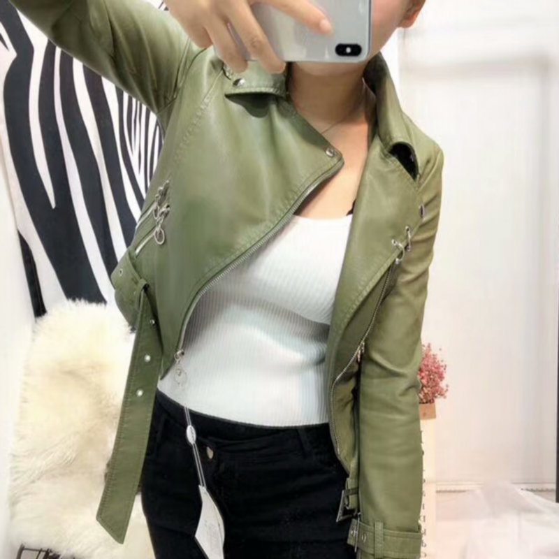 2018 New Arrival Women Soft Faux   Leather   Jackets Lady Motorcycle PU Biker Coat Black Pink Blue Green Outerwear Casual Streetwear