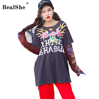 RealShe Fashion Letter Print Dark Grey T Shirt Women Tops Casual Round Neck Long Sleeve Hollow