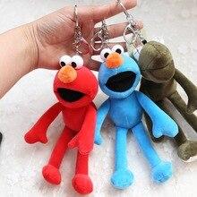 2019 Sesame Street Plush Keychain Elmo Cookie Monster Figure Mini Pendant keychains Soft Stuffed Toys for Children Gift  Keyring
