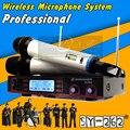 Бесплатная Доставка Двойной Ручной UHF Беспроводная Микрофонная Система Профессиональной Сцене КТВ Караоке Микрофон Майк Микрофон Сем Фио Microfono